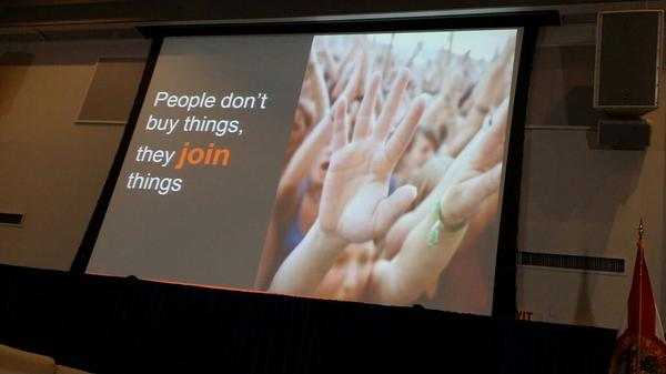 """People want to be part of something bigger than themselves"" via @PamMktgNut #SMWMiami http://t.co/agNlxP0TtY"
