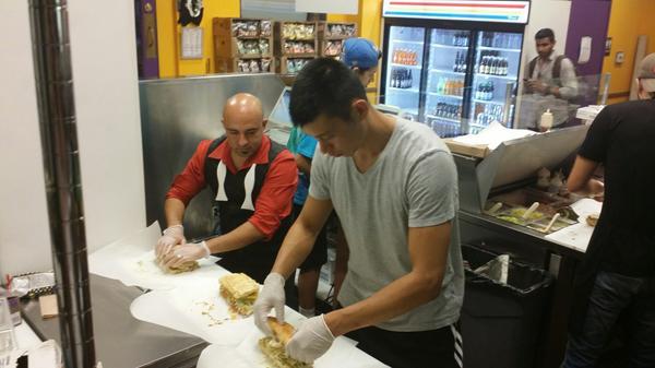 The Jeremy Lin (@JLin7) sandwich: Turkey, Voodoo Heat Chips, Avocado, Havarti (Onions,Lettuce,Tomato,& Sriracha rec) http://t.co/8LPe9IR4ae