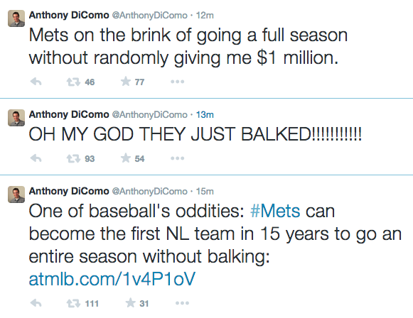.@Mets beat writer tweets about balkless season. Mets immediately balk. Then he tries his luck again... http://t.co/LAKag0VGVc