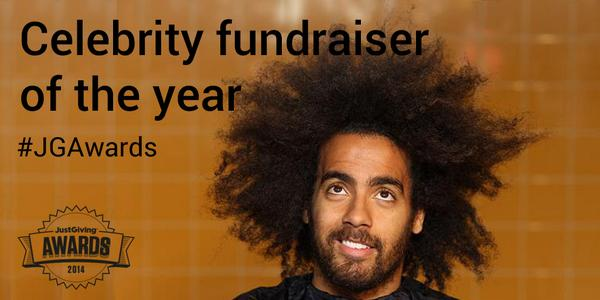 And the Celebrity fundraiser of the year is... @Huddz8. #JGAwards http://t.co/jY12UuG5j3