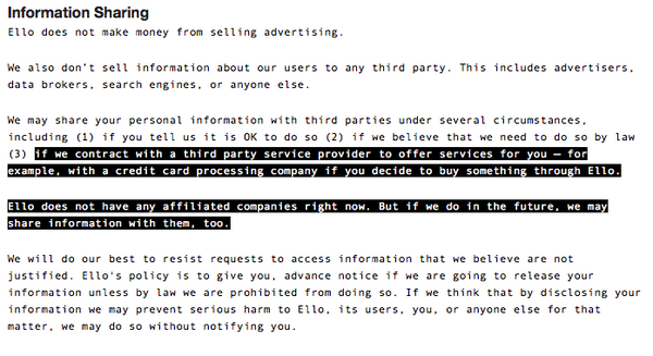 Brilliant - Ello's Privacy Policy suggest they will sell your data when they fancy it! -  http://t.co/8nGXbW3NVE via @blagman