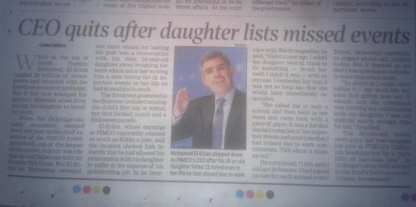 DUDE! RT@PragyanM: CEO quits after his 10-year-old daughter listed 22 imp events of her life he'd missed due to work. http://t.co/A8XecCJ2vf