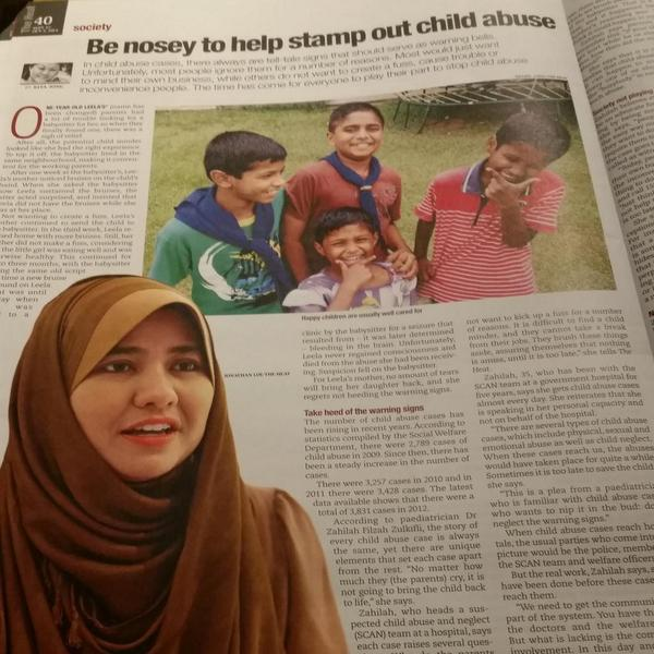 Our founder, Dr Zahilah in today's The Heat. Let's all together as a society fight child abuse! http://t.co/HFPAVwEPTo