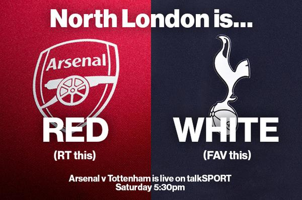 North London is... RT for RED  FAV for WHITE #arsenal #thfc http://t.co/t1QU3WE9OT