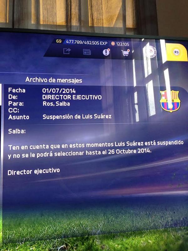 Luis Suárez también está sancionado en FIFA 15  http://t.co/MfuQiUB28V http://t.co/BRwj1xhnI1