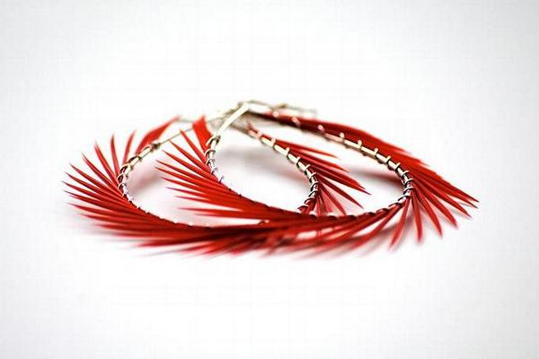 Red Feather Earrings, Spiked Hoops by StoneznStix on Zibbet   Found at http://t.co/YVCi518z8X #Zibbet http://t.co/8p0n1gVkMN