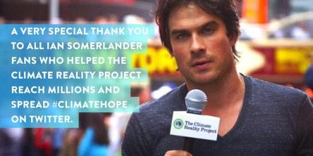 A great messenger and great fans. Thank you for helping share the #ClimateHope message. http://t.co/APIkc4w0NN