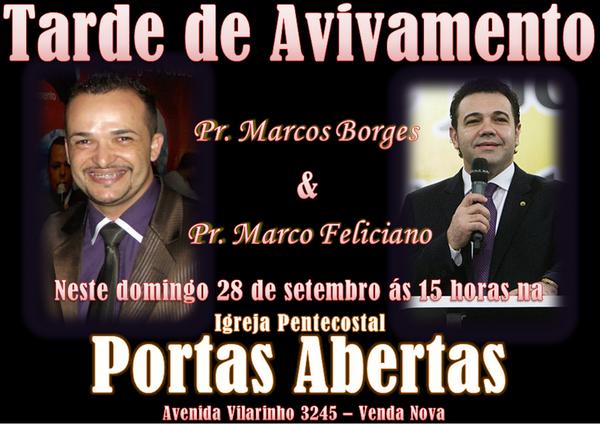 Me ajudem a anunciar a vinda do Pastor @marcofeliciano em meu culto as 3 da tarde neste domingo, vejam... http://t.co/XpPzmyIaGf