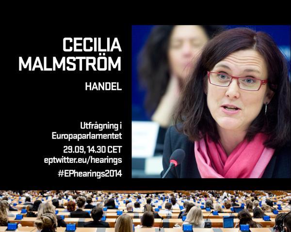 Utfrågning av handelskommissionär @MalmstromEU 29 september kl 14.30 CET http://t.co/Mw8uIVu5p8 #EPhearings2014 http://t.co/p23078vr1A