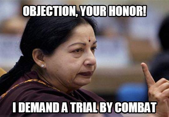 Lol I'm sure amma will win RT @SnarkyDarko: Keep calm and demand trial by combat. #JayaVerdict #Amma #GoT http://t.co/wSIGL0DJIF