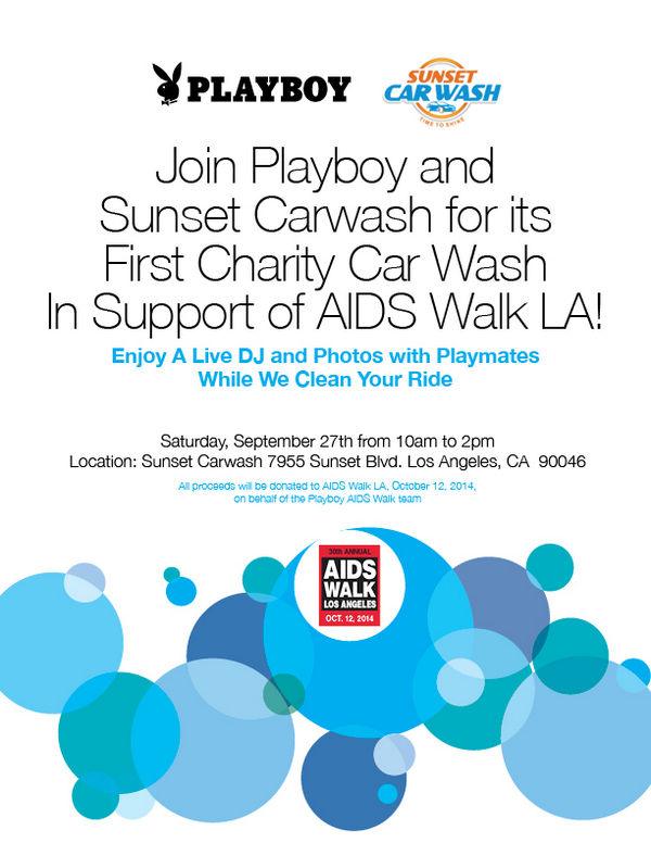RT : 7 #playmates will be Sunset Carwash today 10-2pm to help Raise $$ #AIDSwalkLA Donation