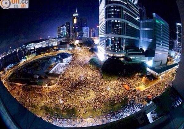 Hong Kong students for democracy tonight. http://t.co/3ZFWEEpOgQ
