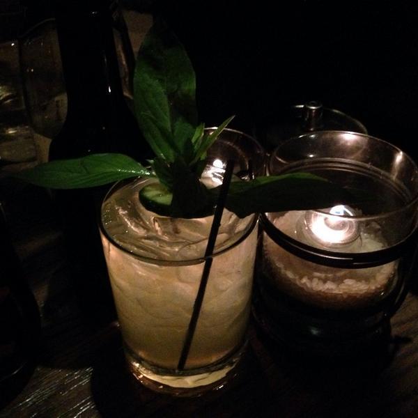 Far East Mule: Bombay sapphire east, Lime Juice, Ginger beer, Thai Basil, Cucumber! #SushiRoku on 3rd