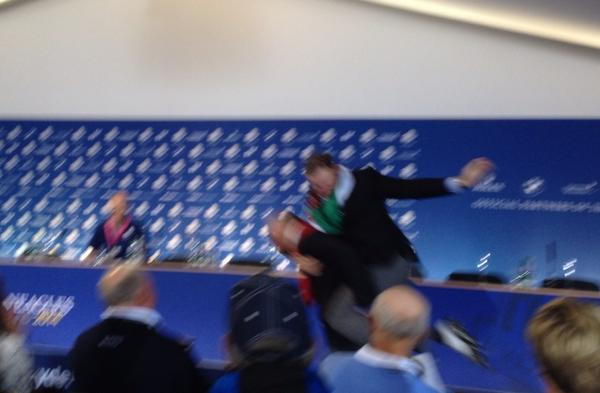 Bit blurry but here's Jamie Donaldson riding Thomas Bjorn into the interview room. Whilst yelping. http://t.co/hSzjD9kWgt