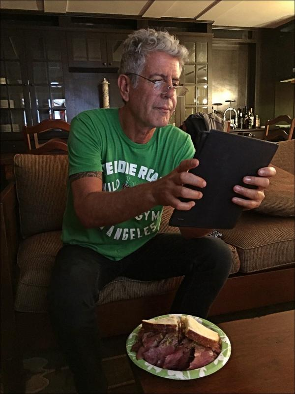 .@Bourdain live tweeting the season premier of @PartsUnknownCNN with pastrami. http://t.co/xdEmOJWfoF