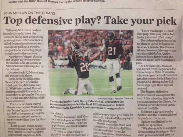 Some #TXST pride (courtesy of the @HoustonChron) Texans cornerback @morrisCODE_tr3 with the game winning INT. http://t.co/WUapTna3kL