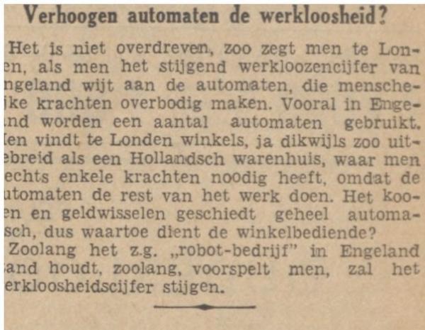 Geweldig, dit krantenbericht uit 1935 : Verhoogen automaten de werkloosheid ? (Via @jRRT ) http://t.co/ZrJ5Q26vNh