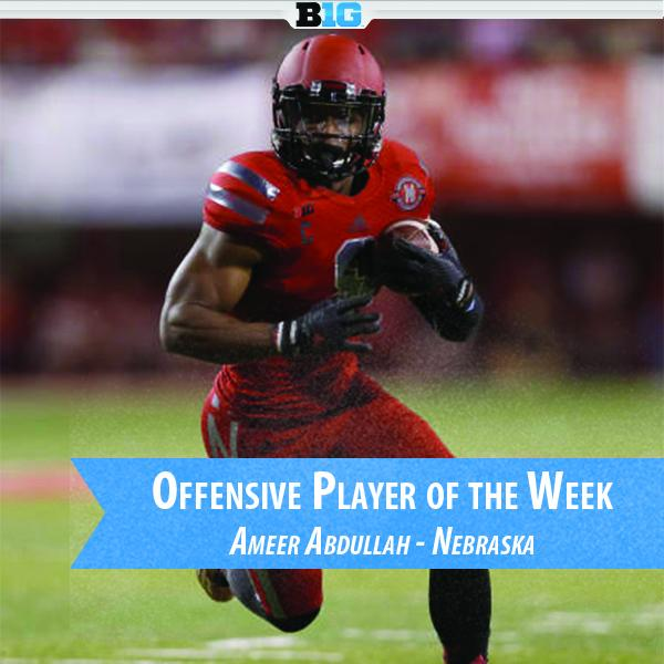 The #B1G Offensive POW is RB Ameer Abdullah of @Huskers - rushed for 208 yards & 3 TDs in win over Illini. http://t.co/jy6R08rvbC
