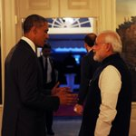 US President @BarackObama welcomes PM @narendramodi at the dinner hosted in his honour at the White House. #PMUSVisit http://t.co/ByrYJrdRWO