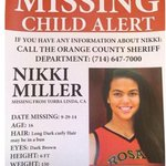 RT @SInow: Reggie Millers niece, Nikki, is missing. Have you seen her? Please call the Orange County Sheriff at 714-647-7000 http://t.co/kkATPWf4Ho