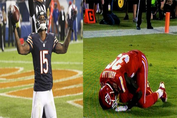 Brandon Marshall gets on knees & raises hands to Jesus after TD..No penalty..Husain Abdullah bows to Mecca..15 yards! http://t.co/6G5sDfaWO0