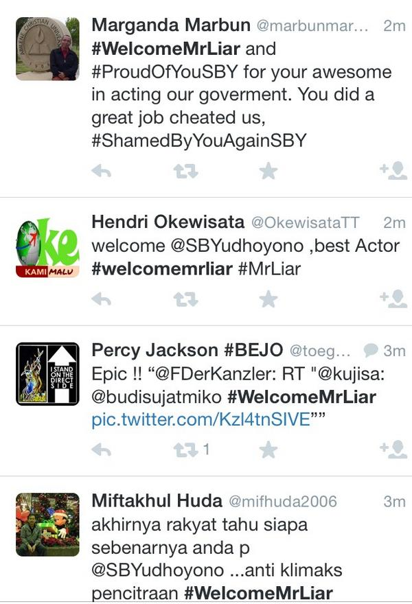 Meanwhile..#WelcomeMrLiar is as real as the netizen voices . #ShamedByYouAgainSBY http://t.co/WGUYiggDDk