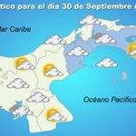 Lluvias dispersas en Panamá oeste y el golfo, nublado en el área metro y parcialmente nublado en el este. http://t.co/gLQ80Und4s