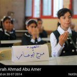 We dont forget Marah Ahmad Abu Amer, is remembered by her classmates http://t.co/M1CMuLH1Ub #Gaza #Palestine http://t.co/LqWrgUflmr