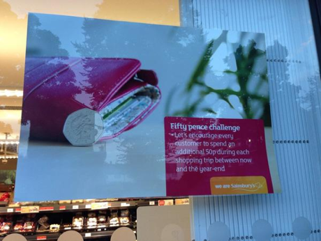 Sainsbury's puts poster in window that customers were never meant to see … http://t.co/WEhxRxWk5F   #50pchallenge http://t.co/lkoTpdRQQ2