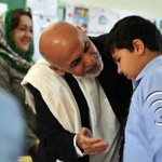 #AFG. Pres Ashraf #Ghani talking with #Mirwais son of Ex Pres #Karzai during his visit to #Amani High school today. http://t.co/vuorfJ5Zxo