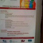 Jornada de Juicio por Jurado en #Salta. Cc @Abogados_Salta http://t.co/glGBMVoekA