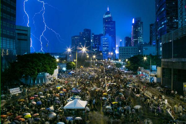 Stunning -> MT @SCMP_News: Tens of thousands brave storms to protest in Hong Kong as National Day begins http://t.co/T3YSDhpxUQ