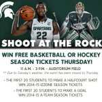 RT @MSU_Hockey: ATTENTION MSU STUDENTS: Shoot At The Rock has been postponed until Thursday. Same time, same place, same prizes. http://t.co/GRGLKmf1mN