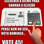 RT @_souaecio: Dilma prefere Marina no 2 turno! Aécio é o único que pode vencer Dilma! Voto útil para retirar o PT do Poder! #45 http://t.co/otwNvoG3nf