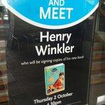 RT @GuildhallExeter: BOOK SIGNING | @hwinkler4real will be at @WHSmith in #Guildhall #exeter book signing on 2nd October! #HankZipzer http://t.co/qwhMmqgkES
