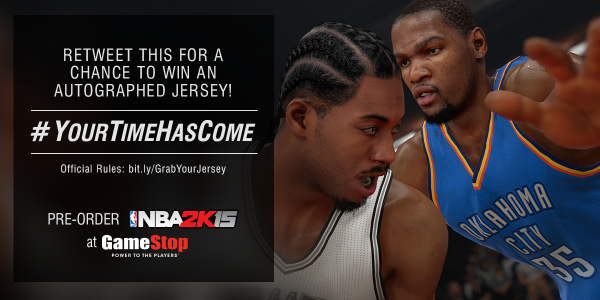 GameStop (@GameStop): #YourTimeHasCome to RT this for a chance to win an autographed Kevin Durant jersey! Rules: http://t.co/O97Ac6yr4h http://t.co/C6H8gEGnu6