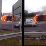 RT @spin1038: Theres a truck on fire on the M50 nbound. Its closed after J6 Blanchardstown (image via @aaroadwatch) http://t.co/x8iNJ3Z5Qv