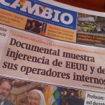 RT @marianovazkez: Tapa del períodico @CambioBo #InvasiónUSA muestra injerencia de EEUU y sus operadores internos http://t.co/qNBRyP5uQB
