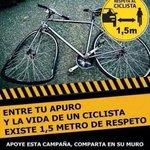"""""""1,5 metro de respeto a #MiBici"""". Vía @MiBiciCali http://t.co/aexvlr6FqG @SecDeporteCali @Colbicicleta @bicicletaverde @UCI_cycling"""