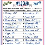 RT @MLB: Less than 5 hours away. @Athletics and @Royals lineups are set for their AL #WildCard showdown on TBS. http://t.co/H7sX0MOcma
