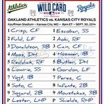 Its September 30, but #OAKtober starts tonight. Lineups for #WildCard game vs. Royals: http://t.co/EXrqxTjYZo