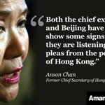 Protestors won't give in without results, Former #HongKong leader Anson Chan tells me: http://t.co/OUX1yeR1a5 http://t.co/aapusa63Y0