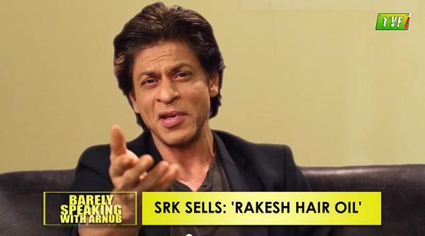 Funny: SRK on Barely Speaking with Arnub! And, he sells @RakeshTheKumar Hair Oil! haha Watch: http://t.co/5c6iD4XXMf http://t.co/zC3mQKQBOk