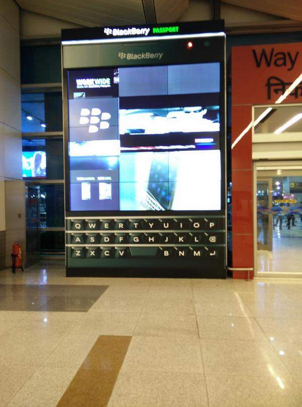 #WorkWide RT @neiltwitz: That's a big @BlackBerry Passport at the New Delhi airport. http://t.co/vgxzwkQRYI