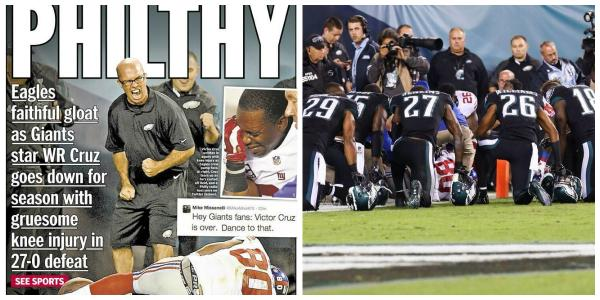NY Daily News makes it look like guy cheered Cruz's injury. Failed to show #Eagles players praying around Cruz. http://t.co/rR5lWThaR7
