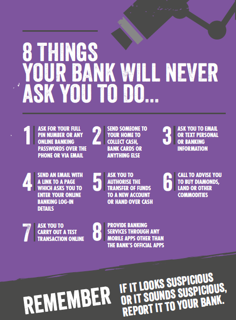 8 things your bank will never ask you to do. Know Fraud = No Fraud http://t.co/XTDFZhz6me