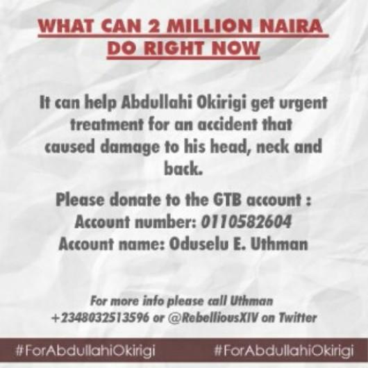 Please today is Tuesday and banks are opened already.Please do the needful. May Allah reward us. #ForAbdullahiOkirigi http://t.co/ItfJhRKA7y
