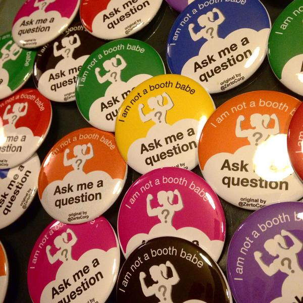 The #AskMeAQuestion button project is starting now at #VMworld! Woman-in-IT working the booth? Come find me http://t.co/3cfK7NGnul