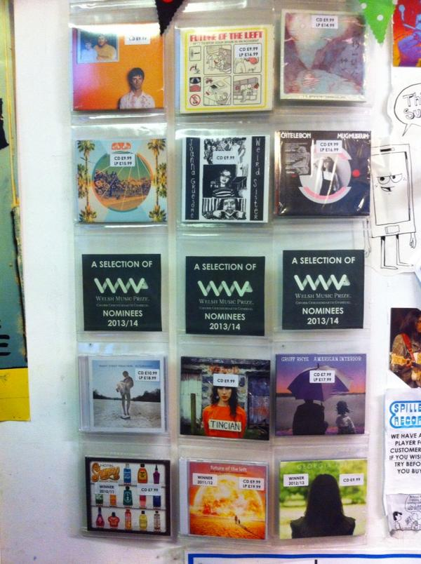 Our @welshmusicprize display! Incidentally,just been having a nice chat to JDB about the various runners & riders :-) http://t.co/iggf88zWps