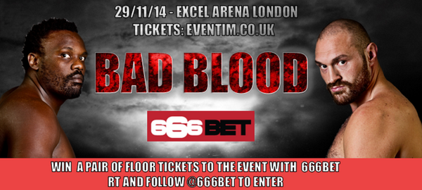 Want to enter to win a pair of floor tickets to #BADBLOOD 29Nov with our sponsors @666bet ? Simply RT& FOLLOW @666bet http://t.co/wsUGHIJoLi